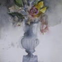 Eva Bender  Gina_s Flowers  watercolor on paper 12.5 x 11.25 inches