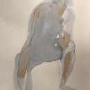 Eva Bender  Untitled Figure (seated male)  watercolor 13.25 x 9.5 inches