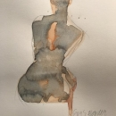 Eva Bender  Untitled Figure (seated orange and gray)  watercolor 12 x 9 inches