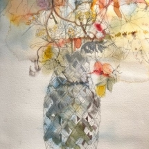 Eva Bender  Flowers in Crystal Vase  watercolor 15.5 x 11.75 inches