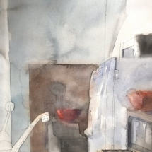 Eva Bender  Kitchen with Two Bowls  watercolor 21 x 16 inches