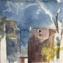 Eva Bender  Lemon St. Lancaster  watercolor 10.75 x 10.25 inches
