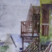 Eva Bender  Lemon Street (Lancaster)  watercolor on paper 21.5 x 14.25 inches