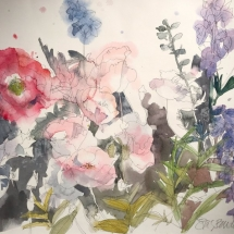Eva Bender  Poppies I (Seattle)  watercolor 14.5 x 19.75 inches