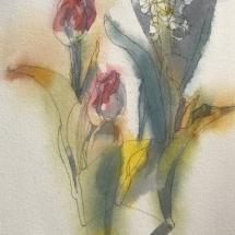 Eva Bender  Tulips  watercolor 12 x 9 inches