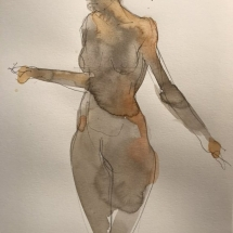 Eva Bender  Untitled Figure (standing female with arms spread)  watercolor 12 x 9 inches