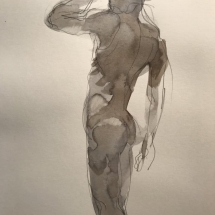Eva Bender  Untitled Figure (standing male)  watercolor 12 x 9 inches