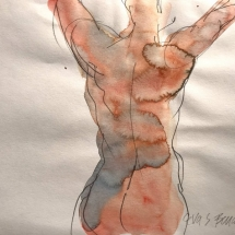 Eva Bender  Untitled Figure (with arms raised)  watercolor 9 x 12 inches