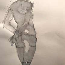 Eva Bender  Untitled Figure (with hands held behind back)  watercolor 12 x 9 inches