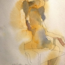 Eva Bender  Yellow Nude  watercolor 13.5 x 10.75 inches