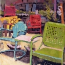 Catherine Drabkin Chair and Benches Found Object Garden oil on linen 12 x 12 inches