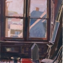 Catherine Drabkin Studio with Red Bucket gouache on paper 14 x 10 inches