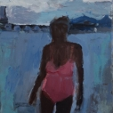 Janice Nowinski Pink Bathing Suit III oil on canvas 14 x 11 inches