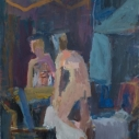 Janice Nowinski Woman Dressing in Front of Mirror oil on linen 20 x 16 inches