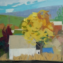 Lou Schellenberg  Yellow Tree  oil on linen on panel 10 x 10 inches