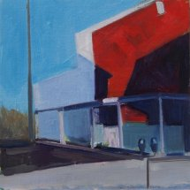 Red Main, oil on panel, 12 x 12 inches