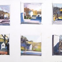 Six Sketches, watercolor, 8 x 12 inches