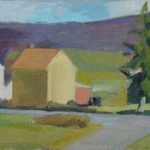 Village Below Ridge, oil on linen, 6 x 12  inches