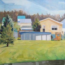 Yard and Pool, oil on canvas, 20 x 20 inches