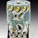 Mariko Swisher  Bulls and Geometry  white earth with under and over glazing 8 x 5.5 inches