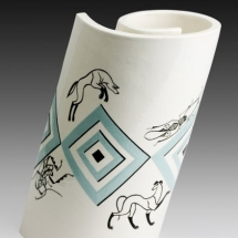 Mariko Swisher  Cave for Beetle and Dogs  white earth with under and over glazing 7 x 4.25 x 2.25 inches