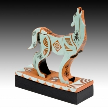 Mariko Swisher  Howl of the Wolf  terracotta with under and over glazing 7.25 x 5.5 x 4 inches