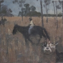 2 E. M. Saniga Riders with Dogs -Thomasville 2004 oil on board 10.75 x 12.5 inches