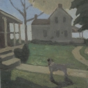 6 E. M. Saniga Two Houses and a Dog 2009-2016 oil on board 10.25 x 9.625 inches