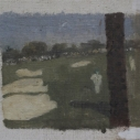 E. M. Saniga 18 at Augusta 2007 oil on board 8.25 x 9.5 inches