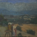 E. M. Saniga Man Painting in the Footprint of Corot nd. oil on canvas 9 x 11.75 inches