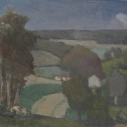 E. M. Saniga Near Peach Bottom nd. oil on board 9. 25 x 11 inches
