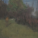 E. M. Saniga The Grouse Dog 2010 oil on board 9 x 10.125 inches