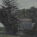 E. M. Saniga The Murdered Womans House nd. oil on board 7.25 x 8 inches