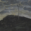 Kurt Knobelsdorf Mound on Columbus 2010 oil on board 7 x 9 inches