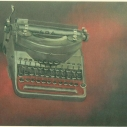 Richard Keltner Dark Typewriter Pastel 21 x 27.5 inches