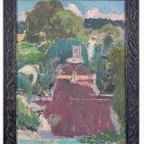 Alex Cohen Birdbath and Gardeners framed Oil on Board 27