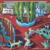 Alex Cohen Dogs of Yangon Oil on Board 13.75x11 $1500