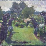 Alex Cohen Garden with Climbing Beans Oil on Mounted Canvas 20x26 $5800framed $5200unframed