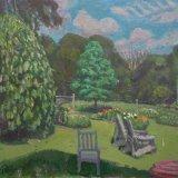 Alex Cohen Pawpaw Swamp Oak and Flower Beds Oil on Board 20x20 $4100 framed $3800 unframed
