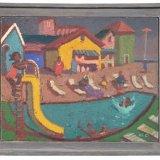Alex Cohen Pool Scene Cannonball Oil on Linen 11x14 $1850 framed $1600 unframed