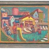 Alex Cohen Pool Scene Oil on Linen 12x16 $2300 framed $2000 unframed