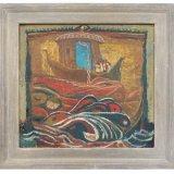 Alex Cohen Red Tears of Ra framed Oil on Board 13.5x12.5 $1850 framed $1600 unframed