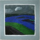 Dee Jenkins Blue in Green and Gray for Miles oil and wax on panel 18 x 18 inches $1800