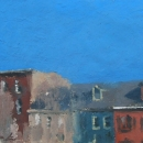 "Lancaster Row - oil on paper 6""x6"""