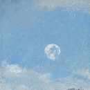 "Moon Study I - oil on paper 5.75""x5.5"""