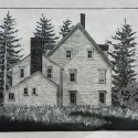 9 Gene Shaw Mickey's House woodcut 26.75 x 30.5 inches