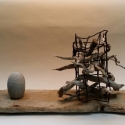 5 Gene Shaw Pick Up Sticks Found Objects wood lobster trap wire stone 9x 23 x 6.25 inches