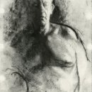 Jeff Geib Robin in the Summer Charcoal and Graphite on Paper 11.75 x 7.75 inches