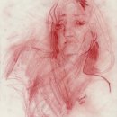 Tina Yanni Amy In Red Pastel on Paper 12 x 9 inches