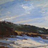 Evening Ridge  oil on panel 11.5 x 12 inches